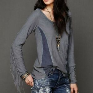 "Free People ""Along the Fringe"" Long Sleeve Top"